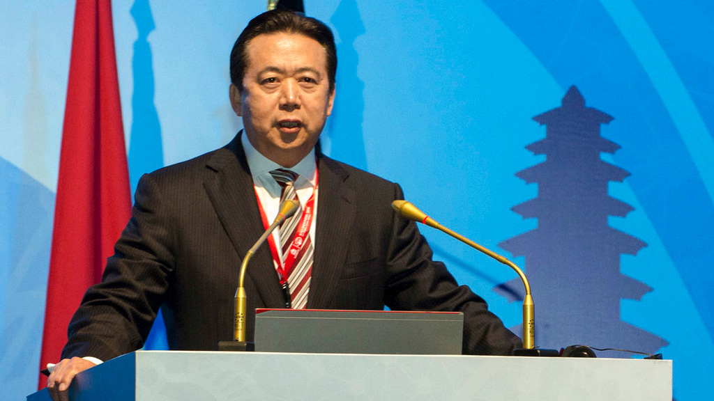 Then China's Vice Minister of Public Security Meng Hongwei delivers a campaign speech at the 85th session of the general assembly of the International Criminal Police Organization (Interpol), in Bali, Indonesia.  (Du Yu/Xinhua via AP, File)