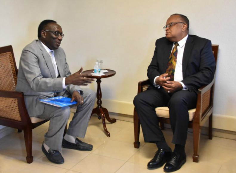 Minister of Foreign Affairs and Foreign Trade, Senator Dr. Jerome Walcott and UNICEF Representative to Barbados and the Eastern Caribbean, Dr. Aloys Kamuragiye. (C.Pitt/BGIS)