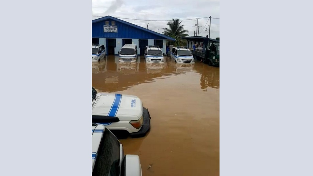 Photo: The Caroni police station was flooded out.