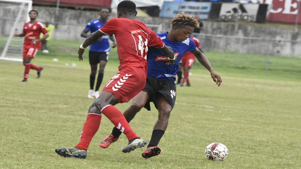 Photo shows action from the Red Stripe Premier League (RSPL) game between University of the West Indies (UWI) FC and Cavalier at the Mona Bowl on Sunday, September 30, 2018. UWI won 1-0. (PHOTO: Marlon Reid).