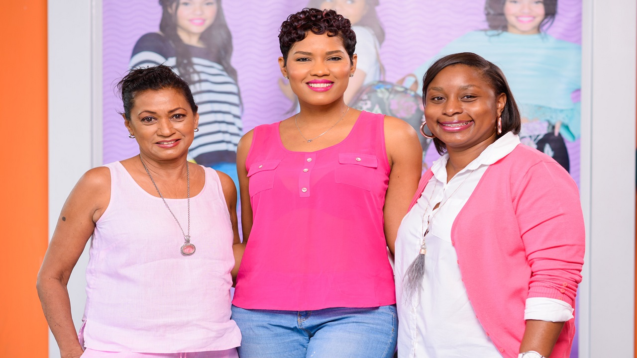 From left to right: Primrose Geourzoung, Chair for the Mahima Foundation, Chelan Smith, Payless Breast Cancer Awareness Campaign Ambassador and Nekeisha Critchlow, Payless Country Manager.
