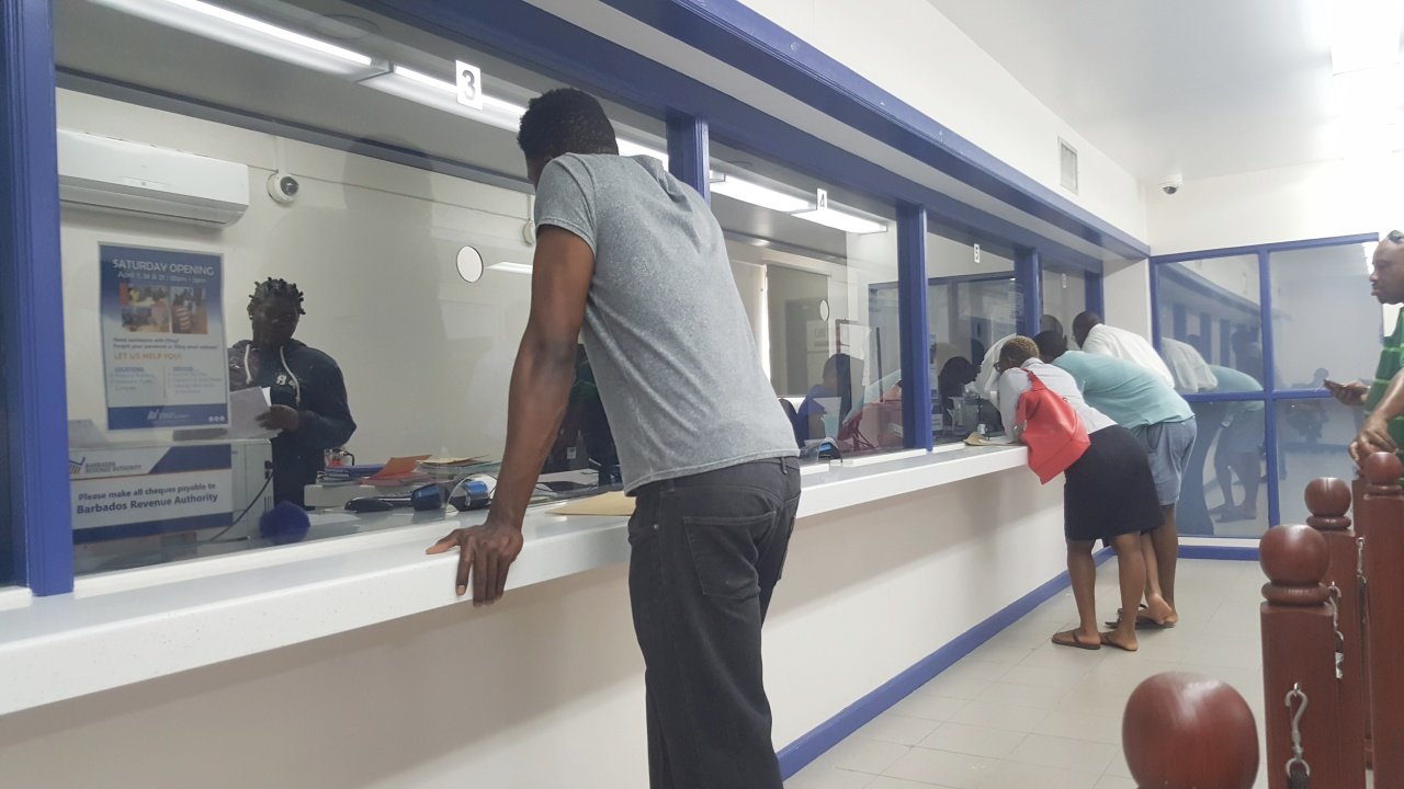 Persons waiting in line at Barbados Licensing Authority in The Pine.
