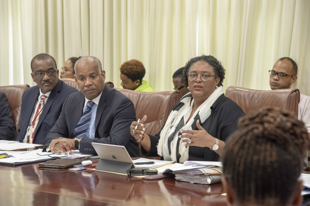 Prime Minister Mia Amor Mottley met with key stakeholders at Government Headquarters to review CSME-related decisions that were taken at the recently concluded 39th Regular Meeting in Jamaica. (BGIS)