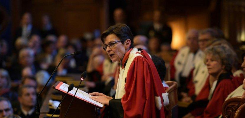 La procureure générale de la cour d'appel de Paris Catherine Champrenault lors d'une audience solennelle à Paris le 16 janvier 2017