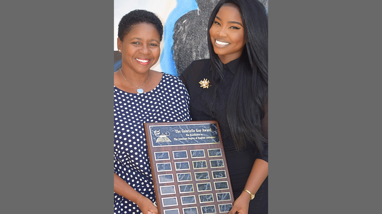 L-R: Dean of the Division of Liberal Arts at the Barbados Community College (BCC), Dr Jean Butcher-Lashley, with the founder of the Gabrielle Gay Award for Excellence in Reading and Literacy, Gabrielle Gay.