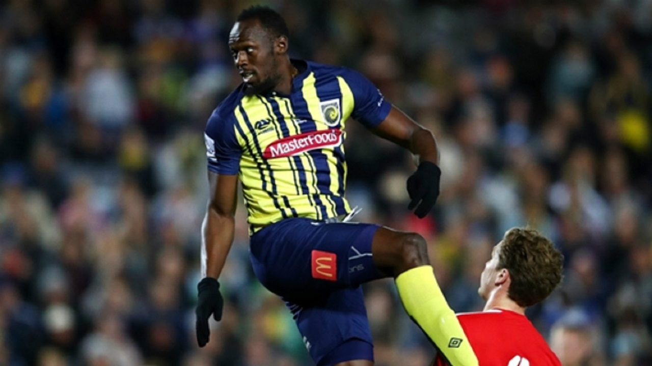 Usain Bolt in action with Australia's Central Coast Mariners.