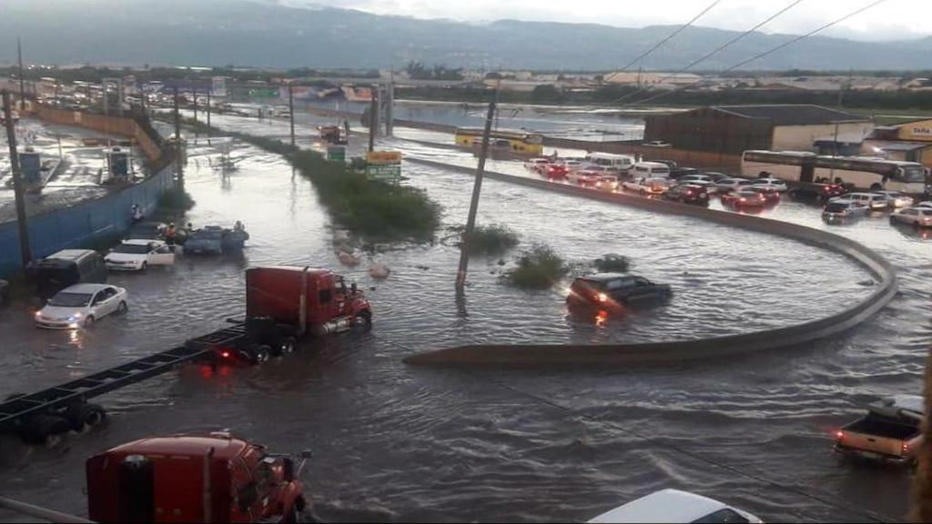 Aerial shot of flooded streets in Kingston, Jamaica, being circulated online.