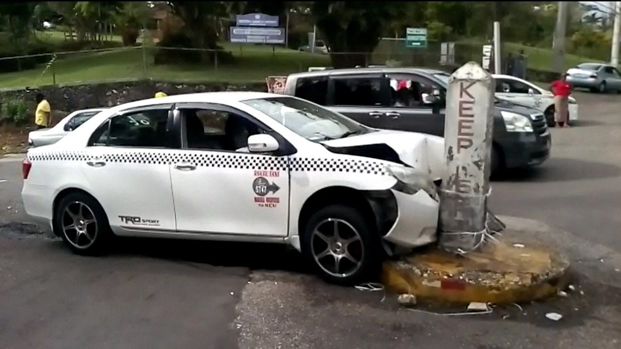 The crashed motor vehicle after a robbery attempt in Mandeville on Tuesday.