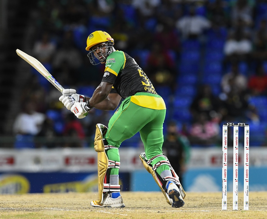 Rovman Powell of Jamaica Tallawahs hits 4 during match 25 of the Hero Caribbean Premier League against St Kitts & Nevis Patriots at the Warner Park Sporting Complex on September 2, 2018 in Basseterre, St Kitts. (PHOTOS: CPL via Getty Images.)