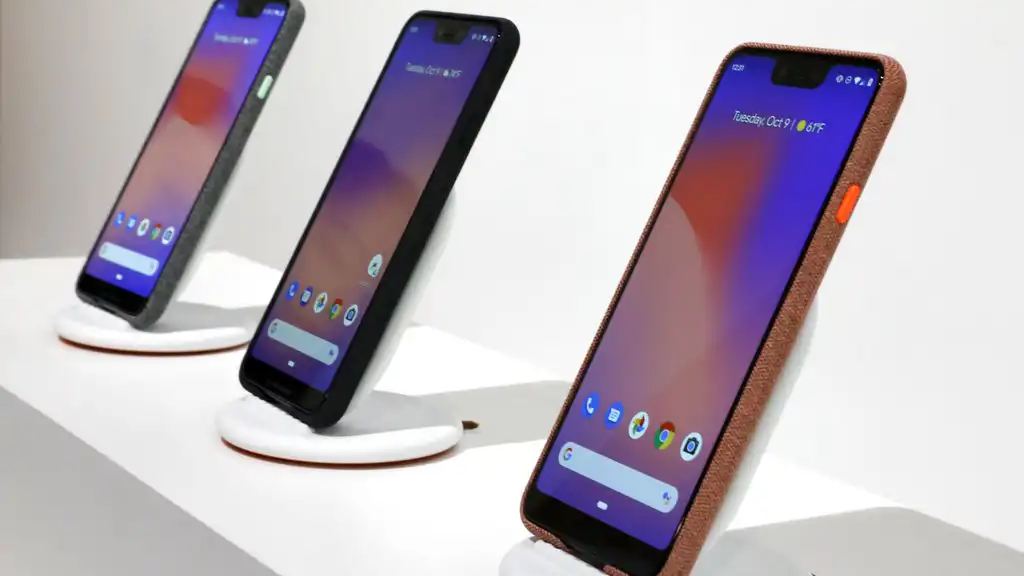 New Google Pixel 3 smartphones are displayed in New York, Tuesday, Oct. 9, 2018. (AP Photo/Richard Drew)