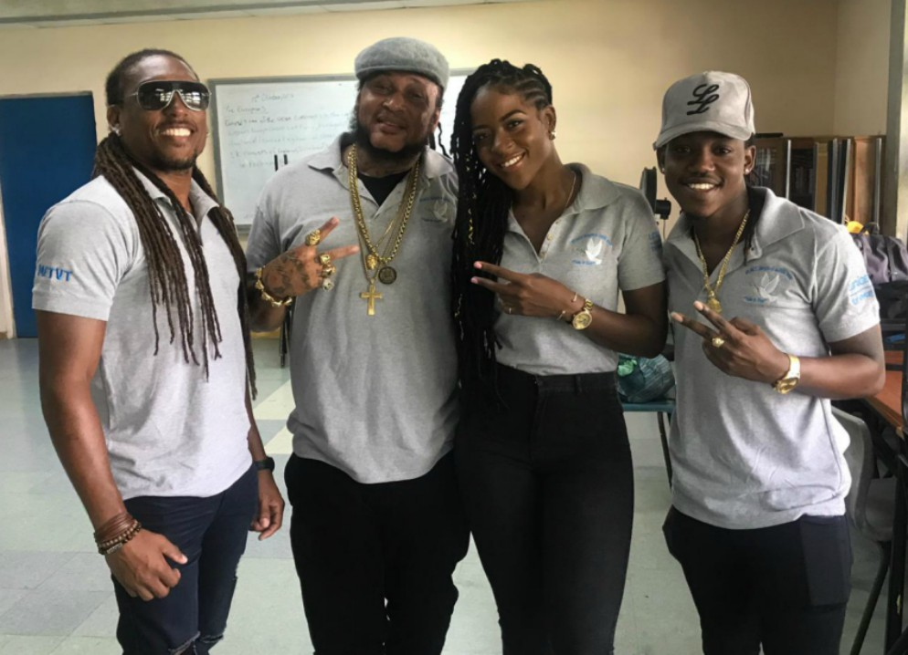 Artistes Philip 7, Peter Ram, Faith Callender and Mole will be spreading the anti-violence and 'peace' message to schools across the island. (BGIS)