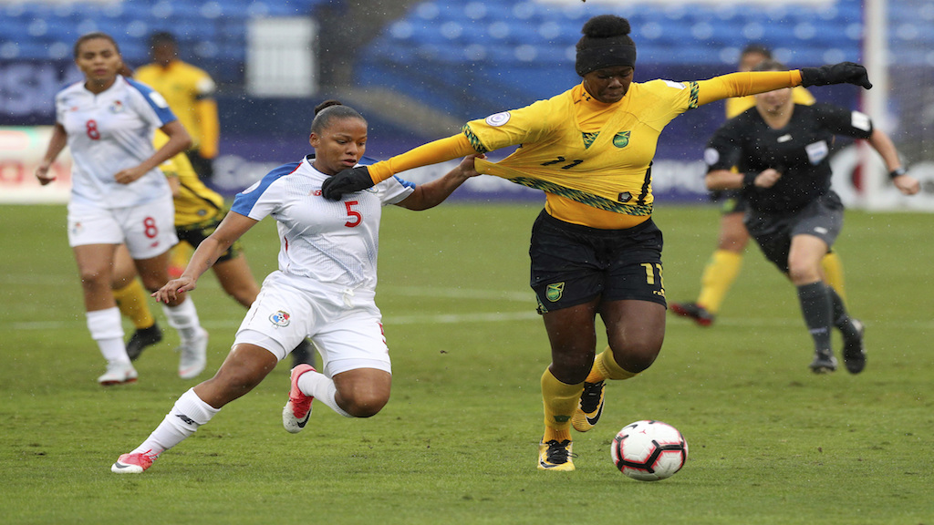 Jamaica's ace female striker, Khadija Shaw, in full control on the ball in World Cup Qualifying action.