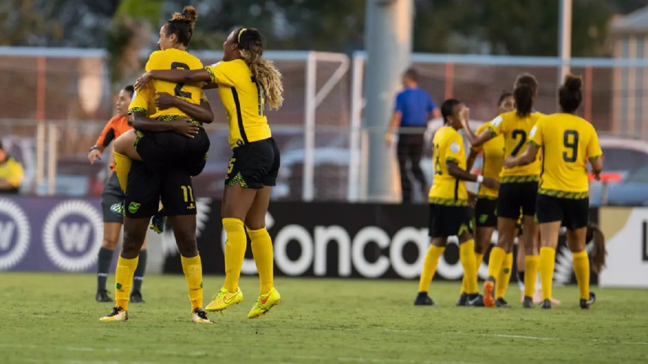 Jamaican players celebrate after defeating Costa Rica in Group B of the concacaf Women's Championship at H-E-B Park in Edinburg, Texas on Monday, October 8, 2018. (PHOTO: concacaf.com)