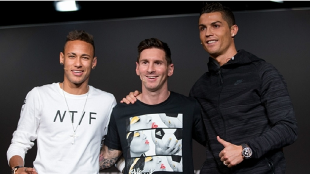 Neymar, Lionel Messi and Cristiano Ronaldo at the 2016 Ballon d'Or gala.