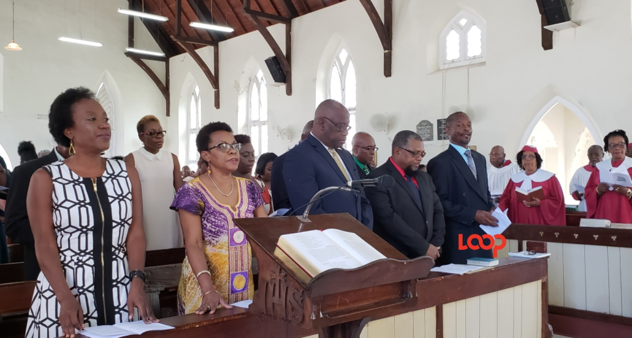 (thrid from right) BAS President James Paul and (second from right) Minister of Agriculture Indar Weir at the World Food Day church service.