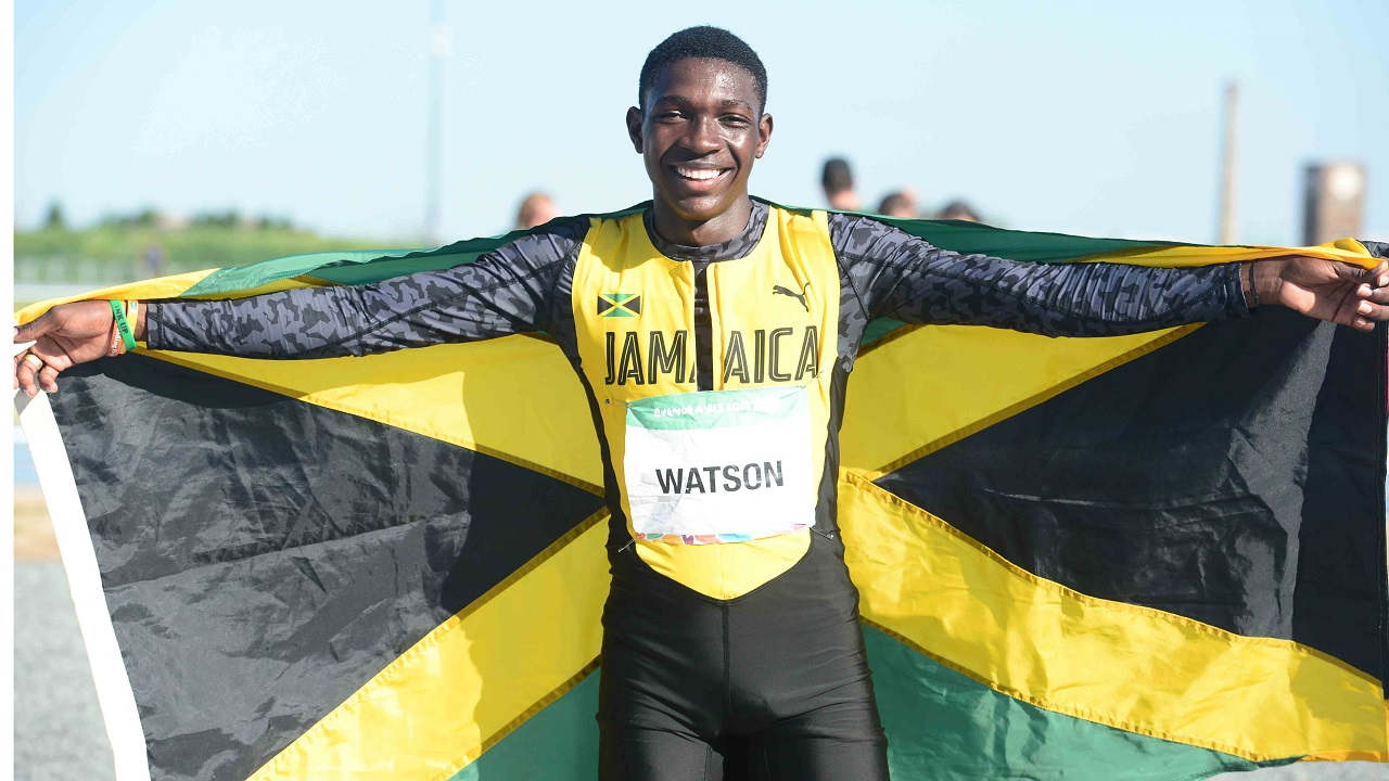 Antonio Watson celebrates after securing the silver medal in the boys' 200m at the Youth Olympic Gamesin Buenos Aires, Argentina on Tuesday, October 16, 2018. (PHOTO/Collin Reid courtesy Jamaica Olympic Association).