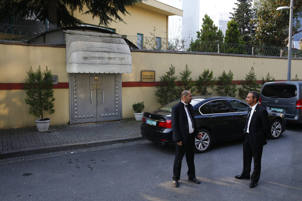 Security personnel guard Saudi Arabia's consulate in Istanbul, Turkey. (AP Photo/Lefteris Pitarakis)
