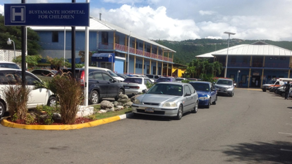 A section of the main parking lot at the Bustamante Hospital for Children.