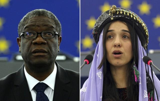 Montage photos du 5 octobre 2018 du médecin congolais Denis Mukwege et de la Yazidie Nadia Murad, prix Nobel de la Paix 2018