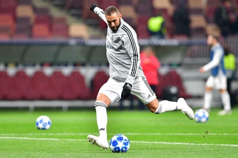 L'attaquant français du Real Madrid Karim Benzema lors d'un match contre le CSKA, le 2 octobre 2018 à Moscou