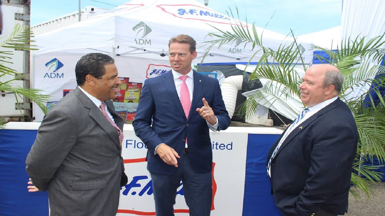 From left to right: Derrick Nembhard, Managing Director, ADM Jamaica, shares a moment with Chris Cuddy, ADM Senior Vice President Carbohydrates Solutions and Jim Gill, Commercial Director Caribbean.