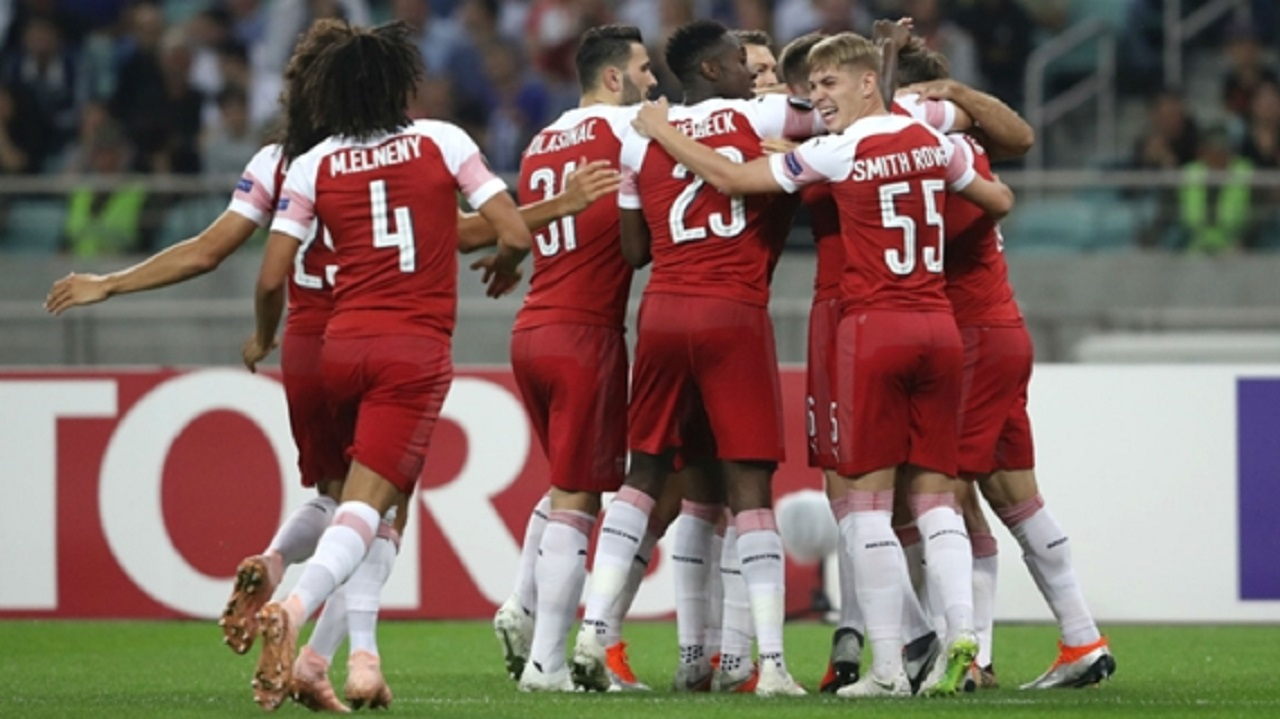 Arsenal celebrate against Qarabag.
