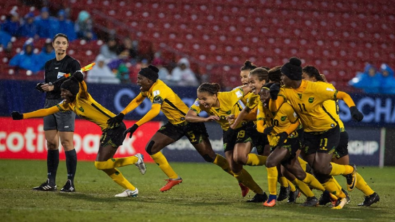 Jamaica's Reggae Girlz celebrate their historic achievement of qualifying for the FIFA Women's World Cup on Wednesday night. (PHOTO: concacaf.com).