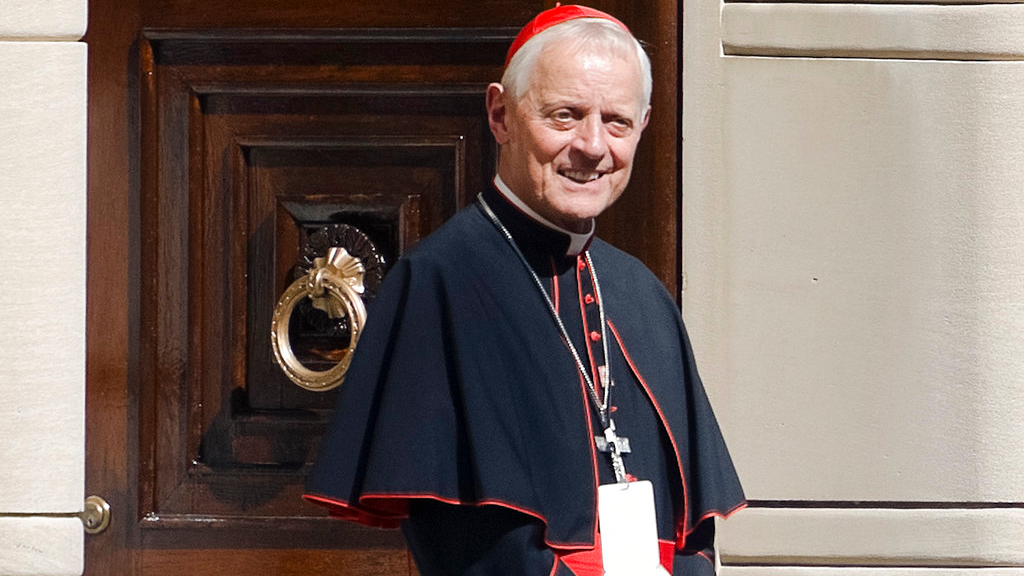 In Wednesday, Sept. 23, 2015 file photo Cardinal Donald Wuerl, archbishop of Washington, stands in the doorway of the Apostolic Nunciature, the Vatican's diplomatic mission in Washington.