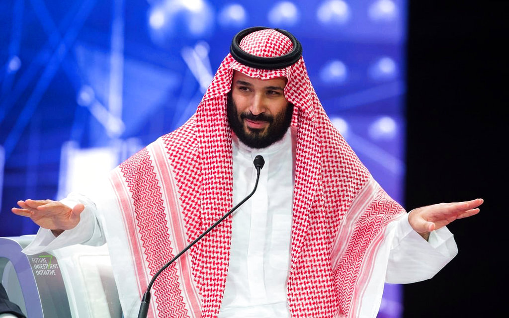 In this photo released by Saudi Press Agency, SPA, Saudi Crown Prince, Mohammed bin Salman addresses the Future Investment Initiative conference, in Riyadh, Saudi Arabia, Wednesday, Oct. 24, 2018. (Saudi Press Agency via AP)