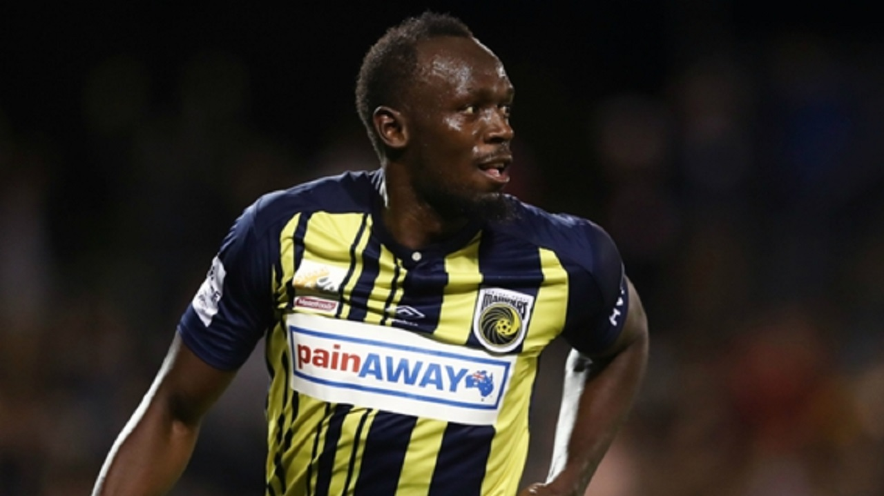 Usain Bolt in action for Central Coast Mariners.