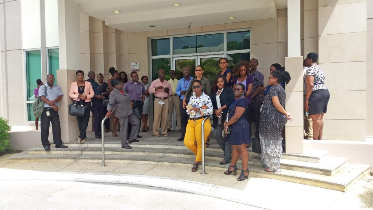 Workers at the Barbados Statistical Service (BSS) outside of their Baobab Tower office.