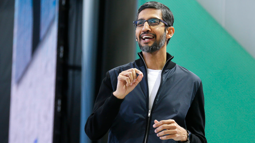 FILE - In this Wednesday, May 17, 2017 file photo, Google CEO Sundar Pichai delivers the keynote address of the Google I/O conference in Mountain View, Calif. (AP Photo/Eric Risberg, File)