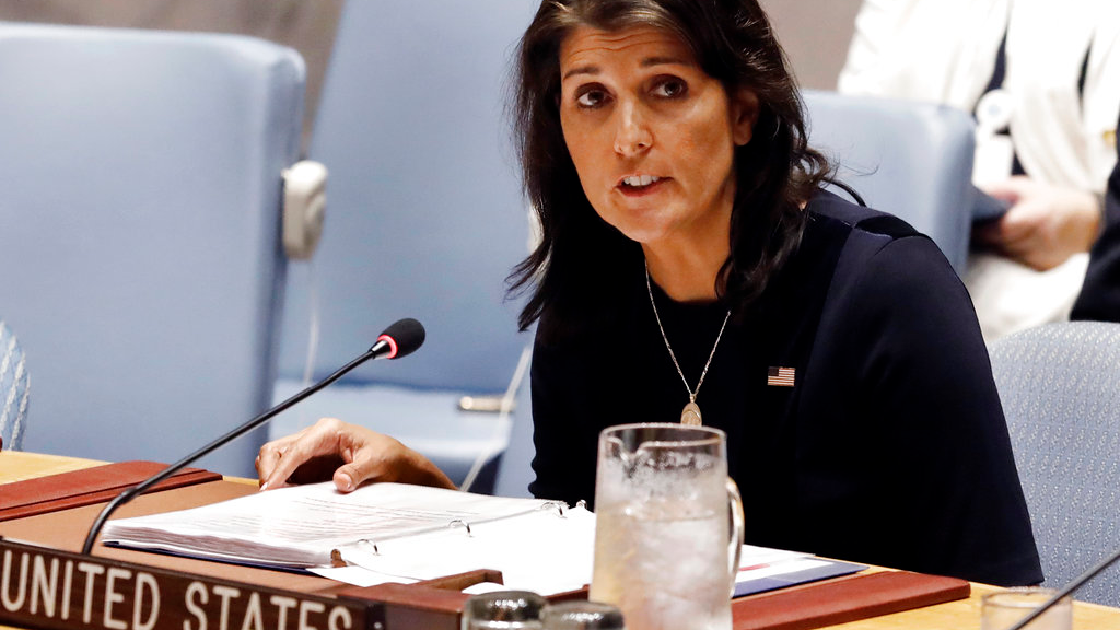 In this Sept. 17, 2018 file photo, U.S. Ambassador Nikki Haley addresses the United Nations Security Council at U.N. headquarters. (AP Photo/Richard Drew)