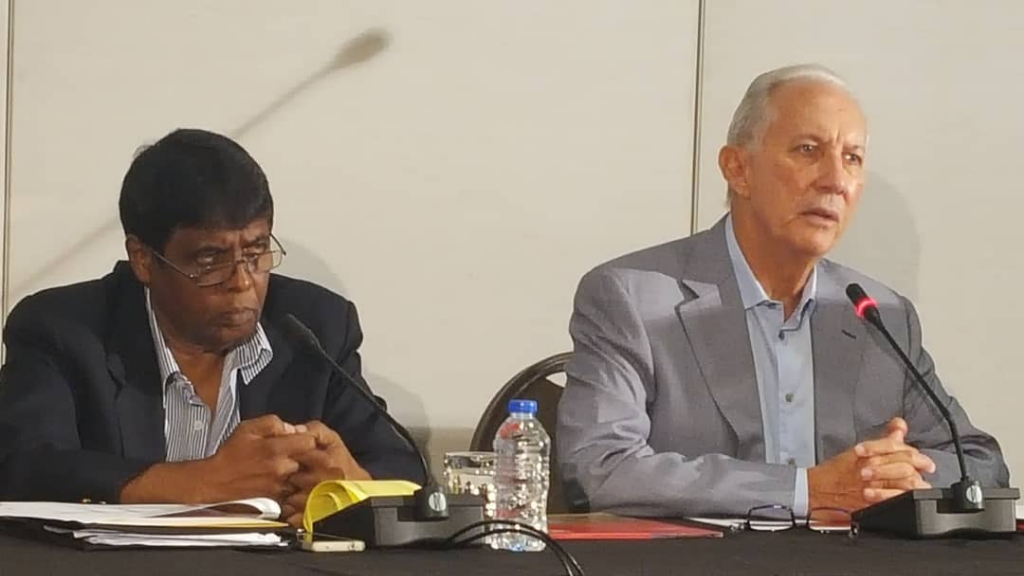 Petrotrin Chairman Wilfred Espinet clarifies the number of workers to be sent home when the Petrotrin refinery is closed. Photo: Darlisa Ghouralal.