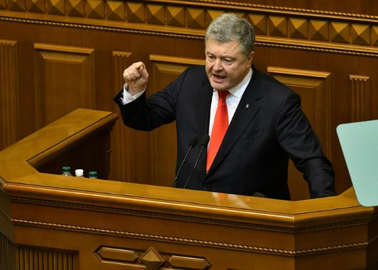 Le président ukrainien Petro Porochenko devant le Parlement lors d'une session d'urgence, le 26 novembre 2018 à Kiev / AFP