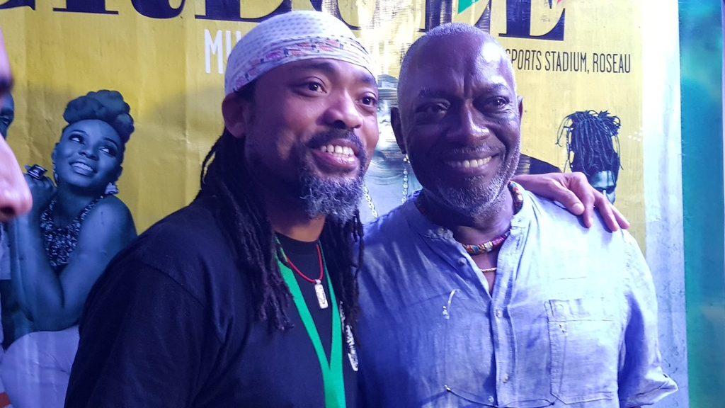 Machel Montano and Kassav founder Jacob Desvarieux at the Dominica World Creole Music Festival