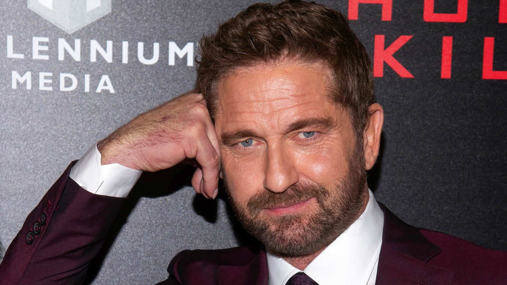 "In this Monday, Oct. 22, 2018, file photo, Gerard Butler attends the world premiere of ""Hunter Killer,"" hosted by Lionsgate and The Cinema Society, at the Intrepid Sea, Air and Space Museum in New York.  (Photo by Charles Sykes/Invision/AP, File)"