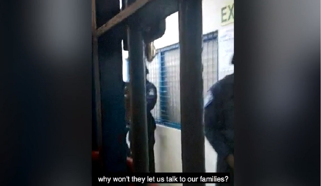 Photo: A screenshot of a video shared by the Miami Herald showing Venezuelan migrants imprisoned in the Immigration Detention Centre in Trinidad.