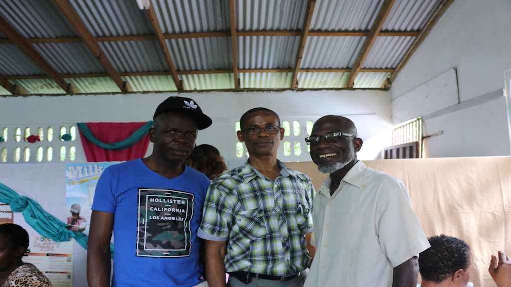 (From left) Brother Donavon McNee Community Service Director Gordon Town SDA         greets  Elder Vaughn Thomas First Elder Gordon Town SDA and Pastor Wadsworth McAnuff Pastor of North Street and Arnold Road SDA churches during the 2017 staging of the The Annual Gordon Town SDA Community Service & Health Fair.