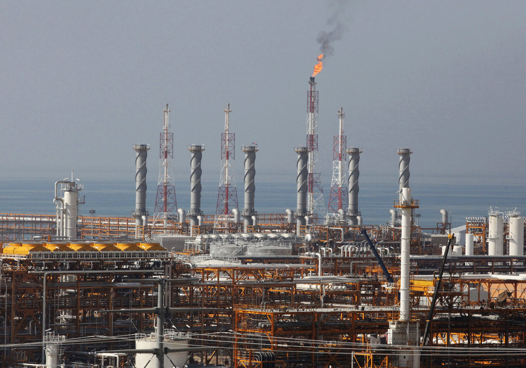 A partially constructed gas refinery at the South Pars gas field is seen on the northern coast of Persian Gulf in Asalouyeh, Iran. (AP Photo/Vahid Salemi, File)