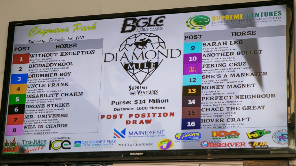 A big screen displays the post-position draw for horses down to take part in the 2018 Diamond Mile at Caymanas Park on Saturday, December 1. The post-position draw took place at Ribbiz Ultra Lounge in Barbican, St Andrew.