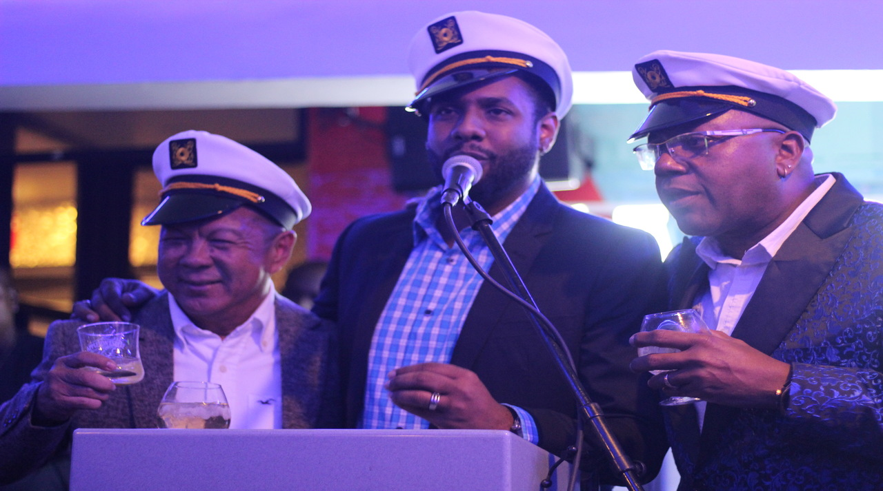 Ribbiz partners (from left) Brian 'Ribbie' Chung, Kamal Bankay and Don Creary at the launch of the brand's new entertainment spot on Ocean Boulevard in downtown Kingston.