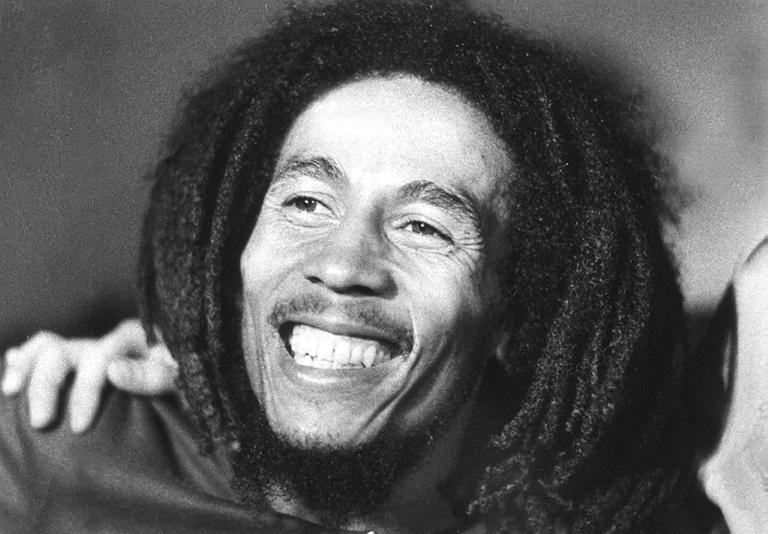Un mural du chanteur jamaïcain Bob Marley, le 8 février 2009 à Kingston