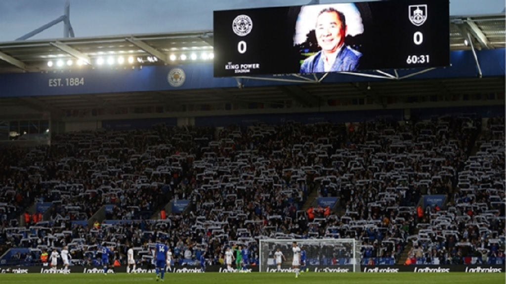 Leicester City fans pay tribute to Vichai Srivaddhanaprabha.