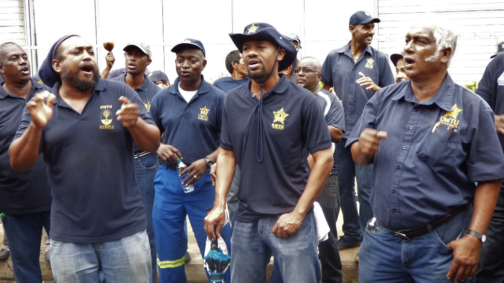 Photo: Members of the Oilfield Workers Trade Union (OWTU) at a meeting in 2018.