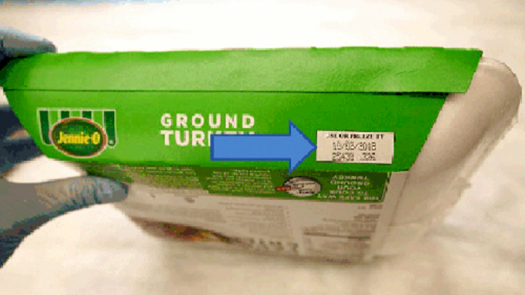 This image provided by Hormel Foods Corporation shows the production code information on the side of the sleeve of Jennie-O-Turkey that is being recalled. Jennie-O-Turkey is recalling more than 91,000 pounds of raw turkey in an ongoing salmonella outbreak. (Hormel Foods Corporation via AP)