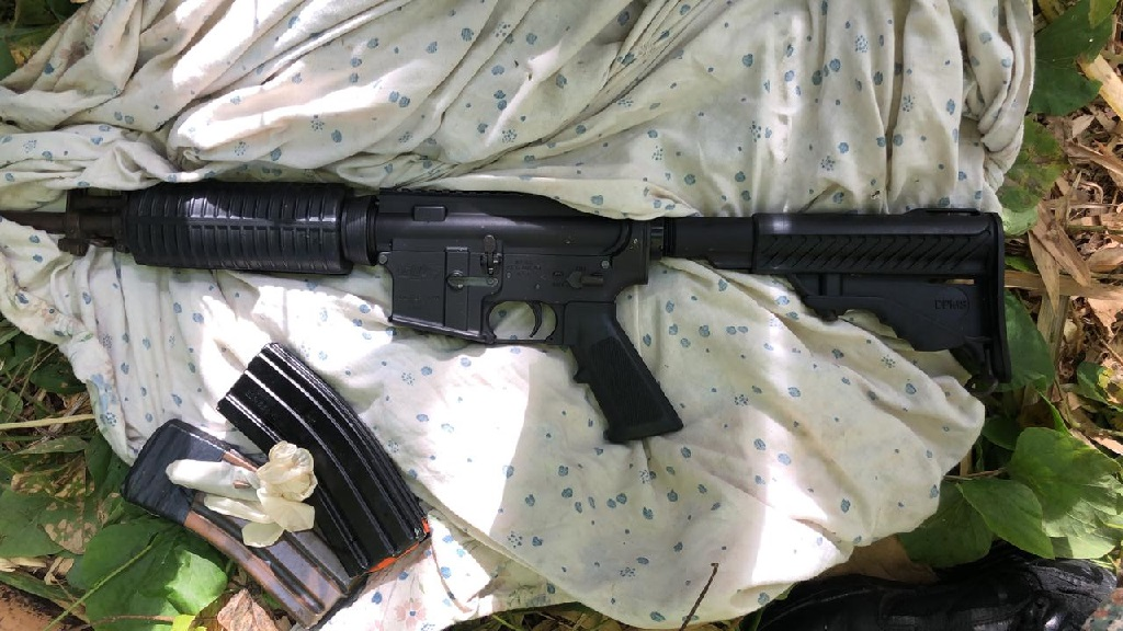 The high-powered rifle that was seized by the security forces in a Monday morning operation in St James in which Ratty Gang member, Richard Anderson, alias 'Cruz', was killed.