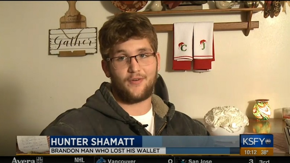 Photo: Hunter Shamatt was given an early Christmas gift after his wallet was returned with extra cash. Photo via KSFY.