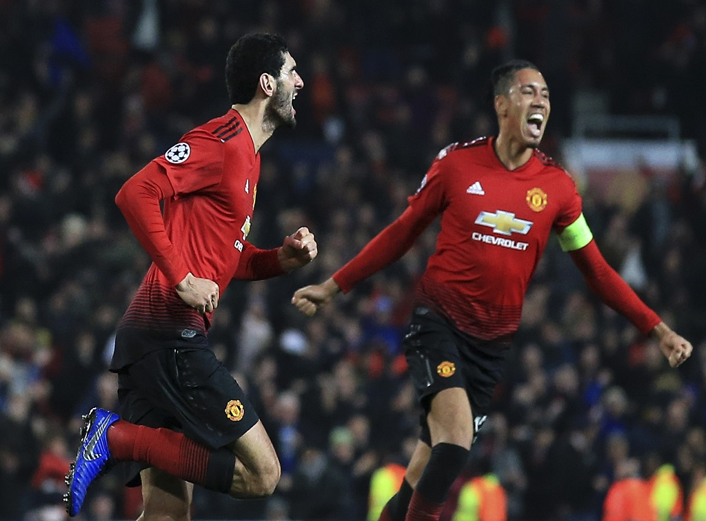 Manchester United midfielder Marouane Fellaini, left, celebrates after scoring during the Champions League group H football match against and Young Boys at Old Trafford Stadium in Manchester, England, Tuesday Nov. 27, 2018.