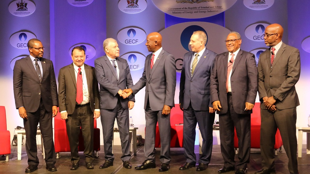 Photo: Prime Minister Dr Rowley along with attendees at the first session of the Gas Exporting Countries Forum, held from November 13-14, 2018 in Port of Spain. Photo courtesy the Office of the Prime Minister of Trinidad and Tobago.